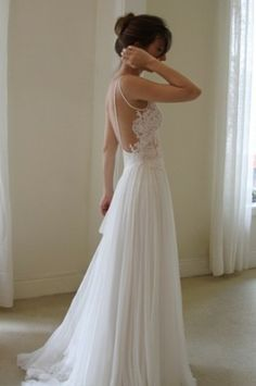 White Backless Wedding Dress ♥ Simple & Chic Backless Wedding Dress #789615 - Weddbook