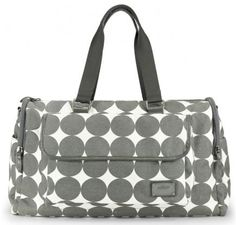 """OOYOO diaper bag """"Labor of Love"""" dots dove gray large duffel - front view"""
