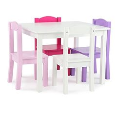 Just right for any kid's playroom, this Tot Tutors Friends Kids 5 Piece Rectangle Table and Chair Set includes a pint-sized white table and. Kids Table Chair Set, Wooden Table And Chairs, Toddler Table And Chairs, Play Table, Kid Table, Home Depot, Purple Chair, Pink Purple, Blue Green