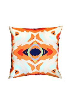 Indoor pillow with a geometric orange print.  Isabela Pillow by The Blush Label. Home & Gifts - Home Decor - Pillows & Throws Florida
