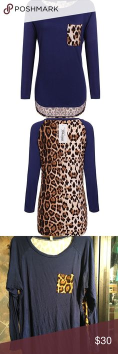 NAVY BLUE Leopard Blouse Long sleeve NAVY BLUE Blouse with leopard pocket and leopard back. NWOT. Stretchy, super comfortable! Tops Blouses
