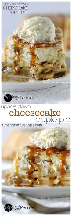 Upside Down Cheesecake Apple Pie! This really is the most amazing dessert ever!… Upside Down Cheesecake Apple Pie! This really is the most amazing dessert ever! Cheesecake and apples make the most amazing pie filling wrapped in a flaky crust! Apple Pie Recipes, Apple Desserts, Sweet Desserts, Cheesecake Recipes, Sweet Recipes, Delicious Desserts, Yummy Food, Apple Cheesecake, Cheesecake Bars