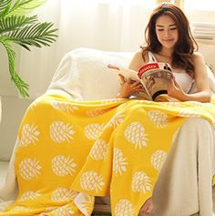 Brandream Yellow Pineapple Knitted Blanket Kids Bed Blanket Adults Summer Blanket -- Find out more at the image link.