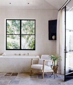black frame windows, modern rustic, ntc-consulting #home #interiors #bathroom