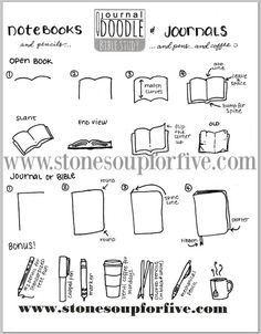 Stone Soup for Five: Doodle Wednesday! Journals, books, and pens and pencils! Free Bible Study, Bible Art, Scripture Doodle, Doodle Drawings, Doodle Art, Inductive Bible Study, Doodle Pages, Sketch Notes, Open Book