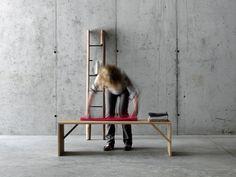 Chestnut bench TINTAN by FIORONI design act romegialli