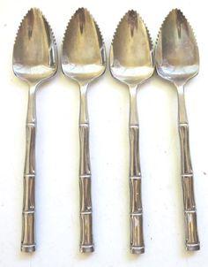 4 Godinger grapefruit spoons stainless bamboo style #Godinger