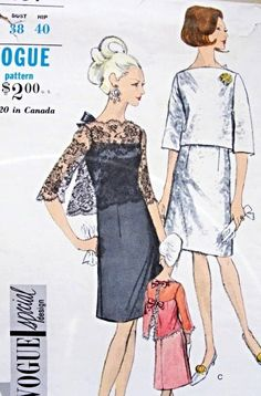 1960s Evening Cocktail Party Dress and Jacket Pattern Vogue Special Design 7084 Strappy Slip Dress With Sheer Lace Over Jacket Elegant Style Bust 38 Vintage Sewing Pattern