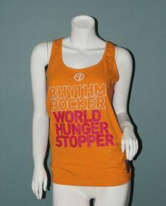 "14.95$  Watch now - http://vinjz.justgood.pw/vig/item.php?t=ju1kkpw32861 - Zumba ""World Hunger Stopper"" Special Edition Racerback Tank Top Orange/Pink XL"