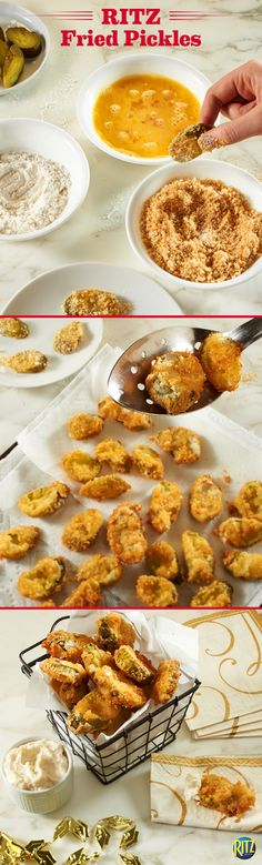 These RITZ Deep Fried Pickles are a great and easy appetizer. Replace traditional breadcrumbs with crumbled RITZ crackers to add a buttery taste and crunchy texture! Mix mayonnaise and horseradish for a side of savory dipping sauce. Finger Food Appetizers, Yummy Appetizers, Appetizer Recipes, Snack Recipes, Cooking Recipes, Deep Fried Pickles, Fried Pickles Recipe, Tapas, Ritz Crackers