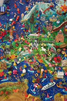 Sara Drake - 3D Illustrated Map of Europe  Mixed media - papier mache, balsa wood, beads and wire