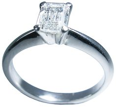 Emerald cut diamond ring in white gold by Petersens Jewellers