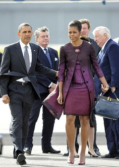 Leaving London, Michelle chose a purple ombré Peter Som dress and coat. Best Michelle Obama Fashion Pictures | POPSUGAR Fashion