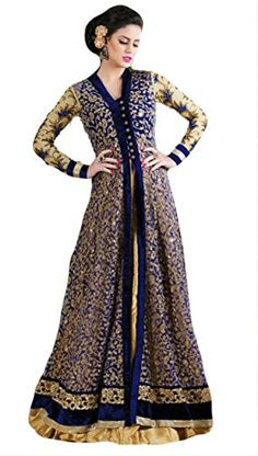Justkartit Women's Blue Colour Zari Embroidery Long Floor Length Gown Style Wedding Wear Dress Material / Latest Indian Ethnic Wear / Party Wear Dress Material / Stylish Engagement wear Dresses (DUAL BOTTOM) - http://weddingcollections.co.in/product/justkartit-womens-blue-colour-zari-embroidery-long-floor-length-gown-style-wedding-wear-dress-material-latest-indian-ethnic-wear-party-wear-dress-material-stylish-engagement-wear-dresses-dual/