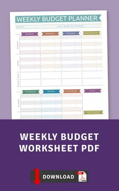 This collection of Free Weekly Budget Worksheet PDF Templates is perfect for those who prefer minimalistic design and usability. Beautifully and carefully designed for ease of use. Schedule, plan and tackle your days and dreams! Budget Sheet Template, Simple Budget Template, Day Planner Template, Weekly Meal Plan Template, Monthly Budget Template, Printable Planner, Weekly Hourly Planner, Monthly Budget Planner, Spending Tracker