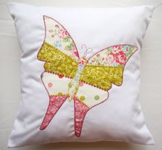 Patchwork Butterfly CUSHION pillow.  by SARAHANNSACCESSORIES