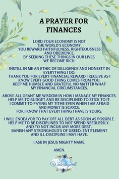 Worry about finances can cause stress, sleepless nights and rob us of our peace. Encouragement to overcome and take control of your finances. Prayer Times, Prayer Scriptures, Bible Prayers, Catholic Prayers, Faith Prayer, Prayer Quotes, New Year Prayer Quote, New Years Prayer, Good Prayers