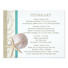 Rustic Wedding Reception Sand Dollar Lace and Pearl Card