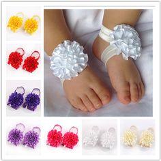 Newborn Toddler flower barefoot sandals. Find them @ www.niknakbaby.com