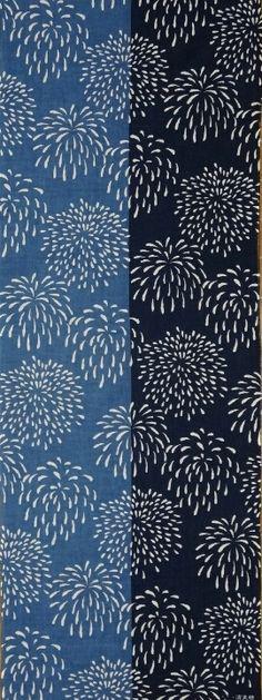 Japanese washcloth, Tenugui fireworks 染め分け花火〈濱文様〉|手ぬぐいショー