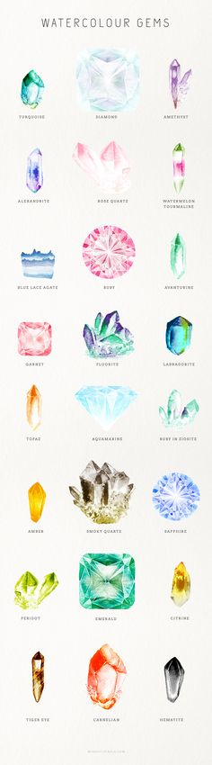 Watercolour Gem Creator Kit {For Photoshop} By: Mindful Pixels on Creative Market Jewelry Illustration, Illustration Art, Crystal Illustration, Diamond Illustration, Jewellery Sketches, Grafik Design, Gouache, Art Tutorials, Tattoo Ideas