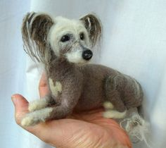 Needle felted Crested Chinese dog - S.Shaw