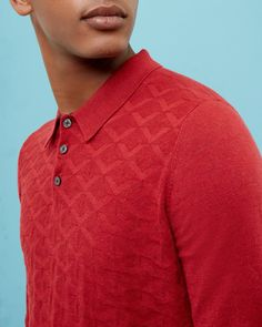 Jacquard knitted polo shirt - Orange | Knitwear | Ted Baker SEU