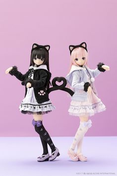 Sahra's a la mode: Meow × Meow a la mode Black Cat Lycee by Azone International - The Dolly Insider Baby Barbie, Barbie Dolls, Pretty Dolls, Beautiful Dolls, Anime Chibi, Kawaii Anime, Kawaii Doll, Waifu Material, Anime Figurines