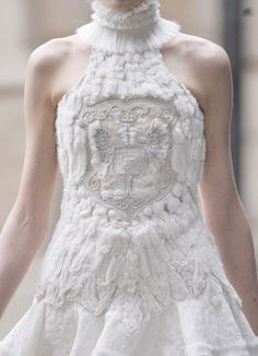 Embellished dress with soft textured embroidery; white on white fashion details // Alexander McQueen