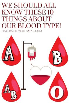 The blood type is inherited and made of the same basic elements. There are 8 different common blood types, which are determined… Natural Health Tips, Natural Health Remedies, Health And Beauty Tips, Health Advice, Beauty Tricks, Herbal Remedies, Health And Fitness Expo, Fitness Nutrition, Health And Wellness