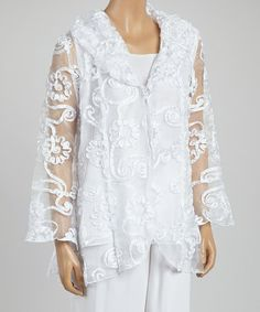 This White Floral Relief Button-Up Jacket & Tank - Women & Plus by 3K Fashion is perfect! #zulilyfinds