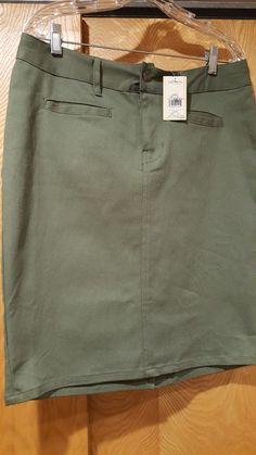 NWT womens' Stetson size 10 olive green stretch denim jeans-style skirt. 97% cotton/3% spandex. | eBay!