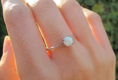 Opal Ring Silver Opal RingSilver Ring Stone Ring Rings by Belesas