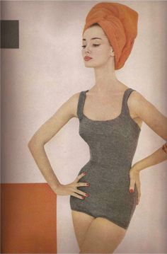 'The Maillot' jersey swimsuit by Maurice Handler of California. Photo by Francesco Scavullo, summer 1957.