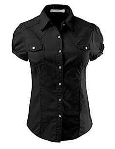 LE3NO Womens Lightweight Fitted Short Sleeve Button Down Shirt at Amazon Women's Clothing store: