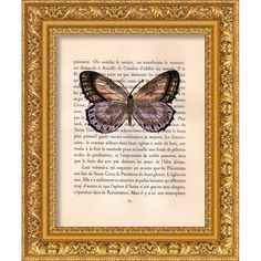 6 Butterfly  Original watercolor painting on old book by MilkFoam, $15.00