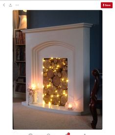 25 Cozy Fairy Lights Ideas For Living Room DIY and crafts - fireplace decoration,fireplace decor ideas,fireplace decorations Fake Fireplace, Bedroom Fireplace, Fireplace Mantels, Fireplace Ideas, Decorative Fireplace, Decorative Lights, Unused Fireplace, Candles In Fireplace, Simple Fireplace