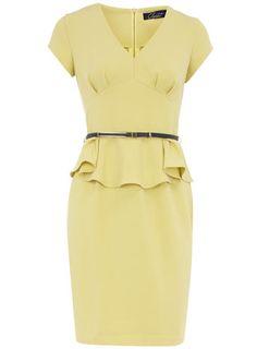 Lemon peplum dress - Dorothy Perkins