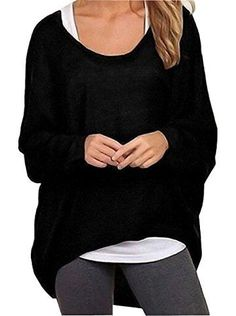 Rjxdlt Women's Batwing Sleeve Pullover Baggy Tops Loose Shirts Blouses For Women #leggings #longsleeve #shirt #casual #comfy #comfyclothes #nightin #casual #gym #winter #fashion #spring #fall #affiliate #az