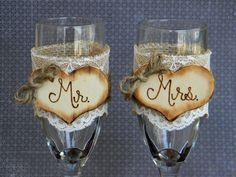 Mr+&+Mrs+Glasses+Champagne+Flutes+Rustic+Woodland+by+justforkeeps,+$28.00