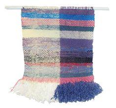 Tissage, décoration murale, tapisserie style ethnique, bleu turquoise,,mauve, violet, blanc