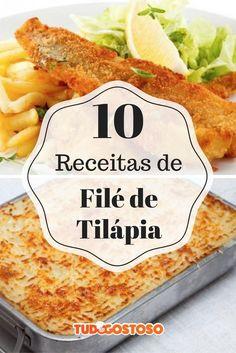 Confira essas 10 receitas com filé de tilápia para sair do básico! No Salt Recipes, Chef Recipes, Fish Recipes, Seafood Recipes, Cooking Recipes, Drink Recipes, Tilapia No Forno, Easy Pasta Dinner Recipes, Sauces
