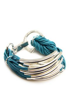 String Bracelet With Silver Hardware In Teal.  Orgasm.