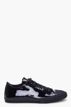 Jil Sander Black Patent Low Top Sneakers for men