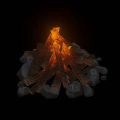 Hand Painted Campfire, Dennis Griesheimer on ArtStation at https://www.artstation.com/artwork/4PrD2