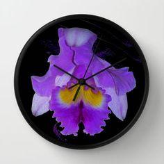 Purple Orchid Wall Clock by Laureenr