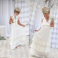 Cheap girls dress, Buy Quality girl dresses for weddings directly from China girls dresses for Suppliers: Romantic 2017 New Arrival Boho Flower Girl Dresses For Weddings Cheap V Neck Chiffon Lace Tiered Formal Bohemian Flower Girl Dress, Princess Flower Girl Dresses, Cheap Flower Girl Dresses, Lace Flower Girls, Little Girl Dresses, Cheap Dresses, Cute Dresses For Teens, Wedding Dresses For Kids, Gowns For Girls