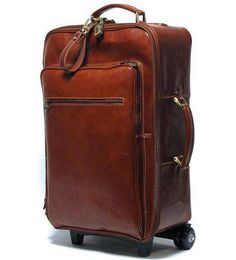 Leather Rolling Luggage Floto Venezia Trolley brown