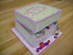 White and Pink Jewelry Box Cake