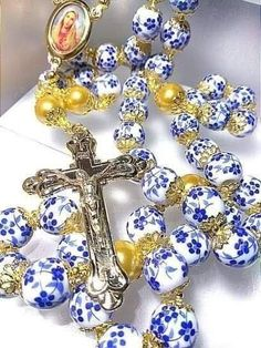cross with a ceramic orchid in its heart Catholic religious gift necklace